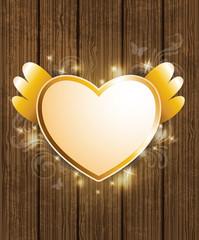Golden heart for Valentine's Day