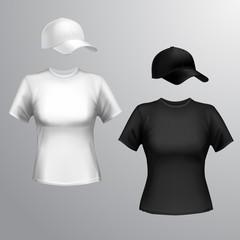 Women t-shirt baseball cap