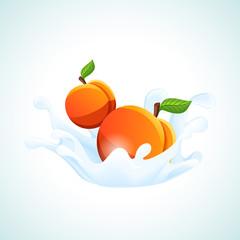 Apricots in milk splash