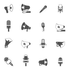 Microphone and megaphone icons black