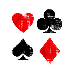 Playing Card Suit symbols Isolated on white background.
