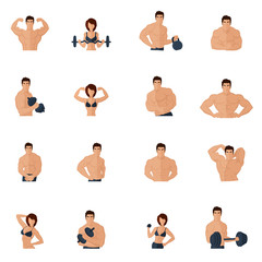 Bodybuilding fitness gym icons flat