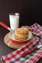 Pancakes with pumpkin and cream cheese