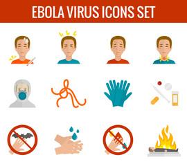 Ebola virus icons flat