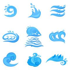 Wave symbols set for design isolated on white backgriund