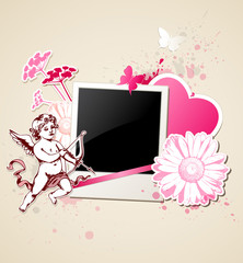 Background with photo and Cupid