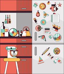 Kitchen interior flat line