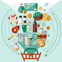 Food icons basket