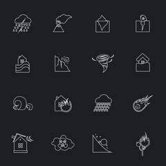 Natural disaster outline icons set