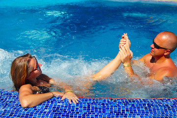 Foot massage in jacuzzi