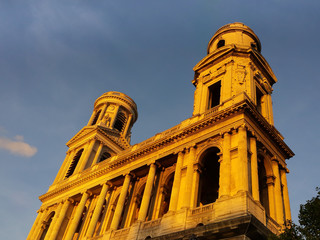 St. Sulpice Church in Paris at sunset