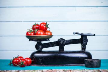farm fresh tomatoes on vintage scale