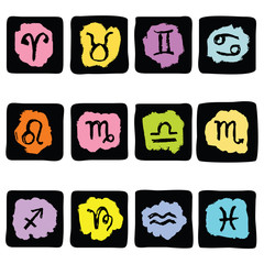 Horoscope Zodiac  Star signs, vector set.