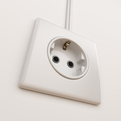 Electric power socket on empty wall. 3D Illustration