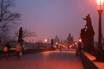 Dawn on Charles Bridge in Prague