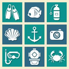 Sea symbols icons et