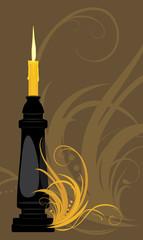Burning candle on the decorative background
