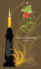 Christmas candle and ornamental ball. Christmas card
