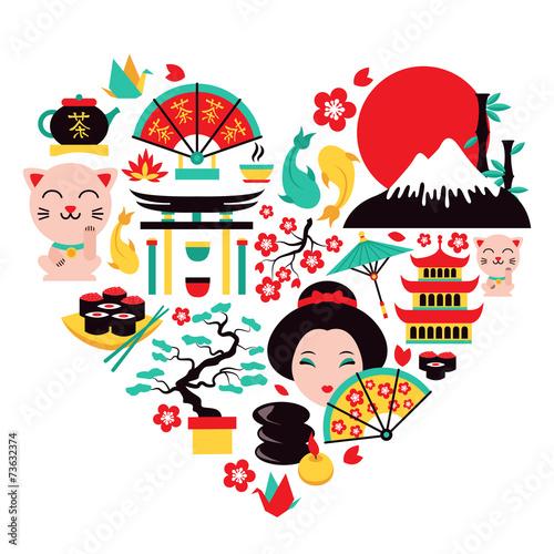 Japan symbols heart - 73632374