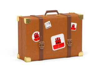 Suitcase with flag of gibraltar