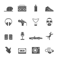 Rap Music Icons Set