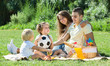 Family of four on picnic