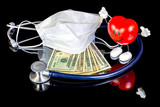 Happy heart and money along with doctors tools poster