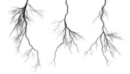 Black lightning on a white background