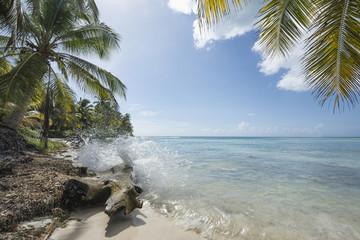 Idealic Caribbean coastline with splash