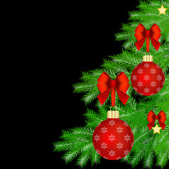 Christmas card with Christmas tree decorations
