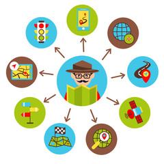 Navigation icons illustration