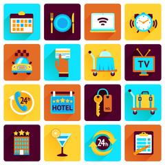 Hotel icons flat set