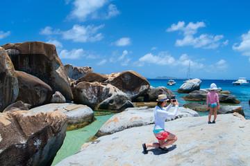Tourist at Caribbean coast