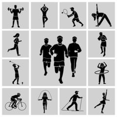 Sport icon set black
