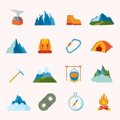 Mountain icons flat