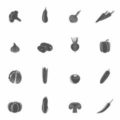 Vegetables icons black set