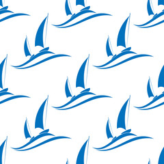 Yachting seamless pattern with blue boats