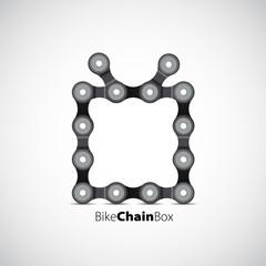 Merry Christmas theme with bike chain, gift box, vector card