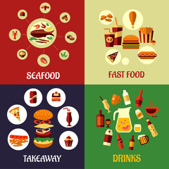 Seafood, fast food and drinks flat icons