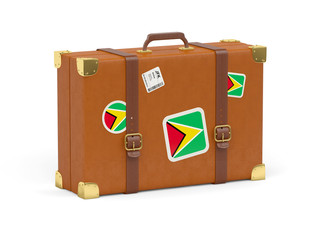 Suitcase with flag of guyana