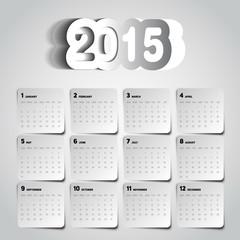 Simple 2015 Calendar design, week starts with sunday, vector pap