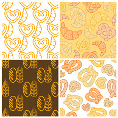 seamless assorted bakery background pattern