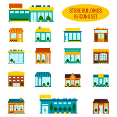 Store building icons set
