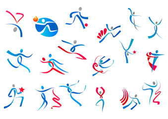 Sportive and dancing people icons
