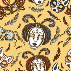 Carnival masks seamless pattern