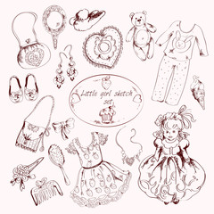 Little girl accessories set doodle sketch