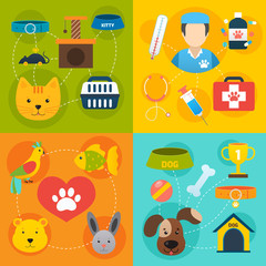 Veterinary icons set flat