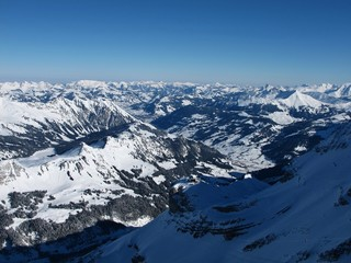 View towards Gstaad, Glacier De Diablerets