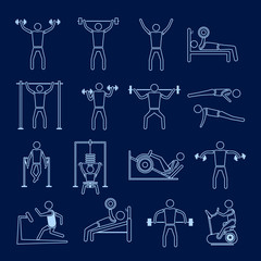 Workout training icons set outline