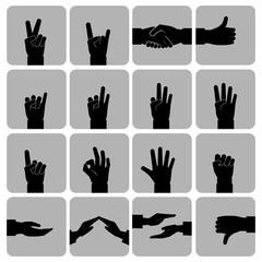 Hands icons set black